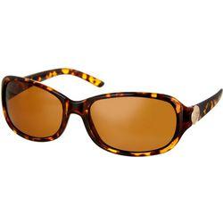 Bay Studio Womens Small Oval Tortoise Brown Sunglasses