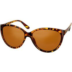 Bay Studio Womens Tortoise Brown Round Cat Eye Sunglasses