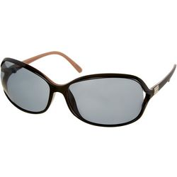 Bay Studio Womens Black & Tan Rectangular Sunglasses