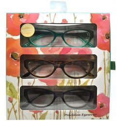 Precision Eyewear Womens 3-pk. Solid & Print Reading Glasses