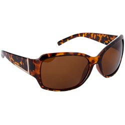 Coral Bay Womens Rectangle Plastic Tortoise Brown Sunglasses
