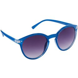 Coral Bay Womens Blue Round Sunglasses