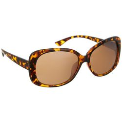 Coral Bay Womens Tortoise Brown Rectangle Plastic Sunglasses