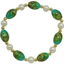 Beach Chic Boxed Green Oval Glass & Pearl Bracelet