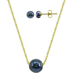 Beach Chic Peacock Pearl Necklace & Earring Set
