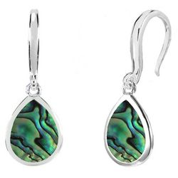 Beach Chic Silver Plated Teardrop Abalone Earrings