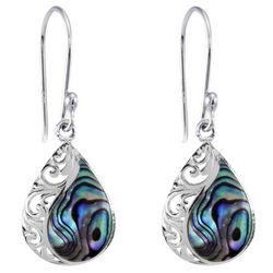Beach Chic Silver Plated Teardrop Scroll Abalone Earrings