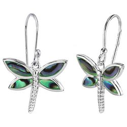 Beach Chic Silver Plated Dragonfly Abalone Earrings