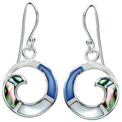 Silver Plated Wave Circle Abalone Earrings