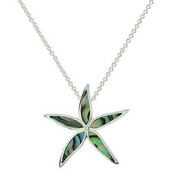 Beach Chic Silver Plated Abalone Starfish Pendant Necklace