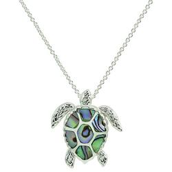 Silver Plated Abalone Sea Turtle Necklace