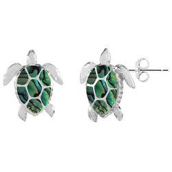 Beach Chic Abalone Sea Turtle Stud Earrings
