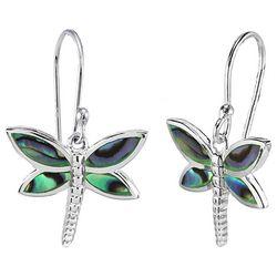 Beach Chic Abalone Dragonfly Dangle Earrings