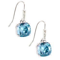 Shine Aquamarine Blue Crystal Element Drop Earrings