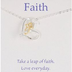 Gratitude & Grace Two Tone Heart Necklace