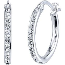 Shine Silver Tone Crystal Elements Hoop Earrings