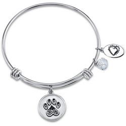 Footnotes Pets Leave Paw Prints Charm Bangle Bracelet