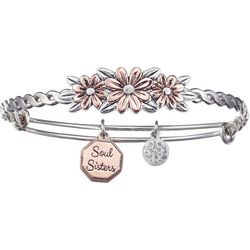 Two Tone Soul Sister Charm Bangle Bracelet