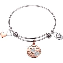 Footnotes Two Tone Mom Heart Charms Bangle Bracelet