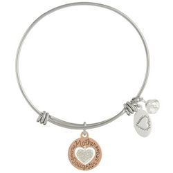Footnotes Mother Daughter Crystal Heart Bangle Bracelet