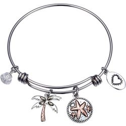 Footnotes Life's A Beach & Palm Tree Charm Bangle Bracelet