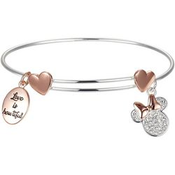 Disney Minnie Mouse Love Is Bowtiful Charm Bangle Bracelet