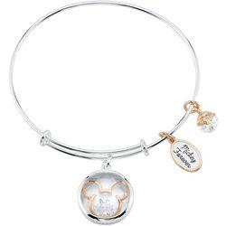 Disney Mickey  Forever Glass Charm Bangle Bracelet