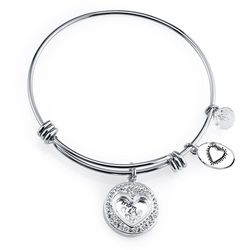 Footnotes Mom - Thank You Charm Bangle Bracelet