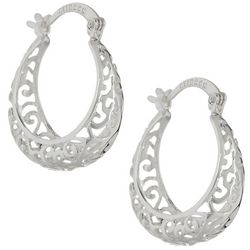 Starfish Box Silver Tone Filigree Hoop Earrings