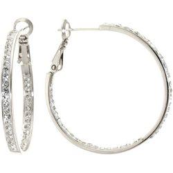 Starfish Box Rhinestone In & Out Hoop Earrings