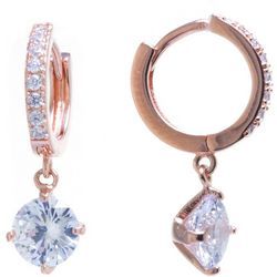 Starfish Box Rose Gold Tone & Rhinestone Hoop Earrings