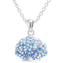 Florida Friends Pave Crystal Elements Shell Pendant Necklace