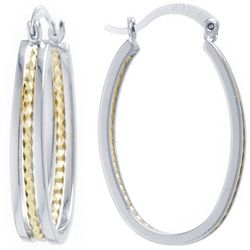 Starfish Box 33mm Two Tone Oval Hoop Earrings