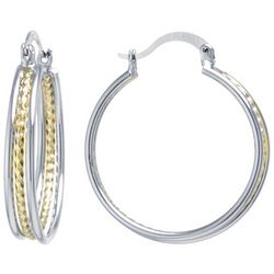 Starfish Box Two Tone Hoop Earrings
