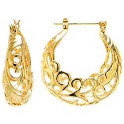 Starfish Box 24K Gold Plated Filigree Hoop Earrings