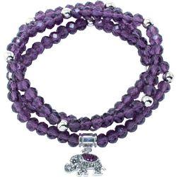 Florida Friends Purple Bead Elephant Beaded Bracelet Set