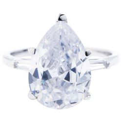 Ocean Treasures Silver Tone Pear Shaped Cubic Zirconia Ring