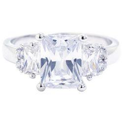 Silver Tone Radiant Emerald Cut CZ Ring