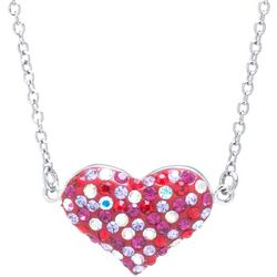 Florida Friends Red Pave Crystal Heart Necklace