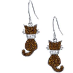 Florida Friends Crystal Elements Brown Cat Earrings