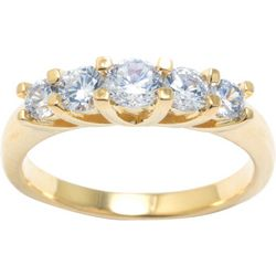 Ocean Treasures Gold Plate 5 CZ Stone Fashion Ring