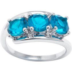 Ocean Treasures Blue Zircon Triple Stone Ring