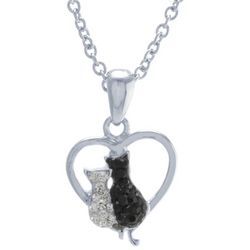 Florida Friends Two Cats Heart Pendant Necklace