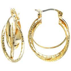 Starfish Box Gold Plated Diamond Cut Hoop Earrings
