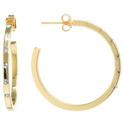 Starfish Box Rhinestone Gold Tone Hoop Earrings