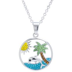 Florida Friends Palm Tree & Dolphin Pendant Necklace