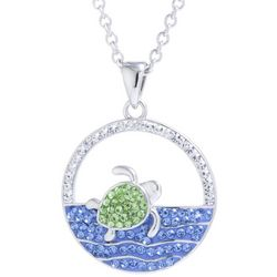 Sea Turtle In Ocean Pendant Necklace