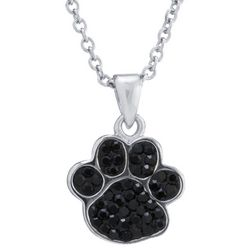 Florida Friends Black Crystal Paw Print Pendant Necklace