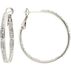 Starfish Box Crystal Clutchless Hoop Earrings