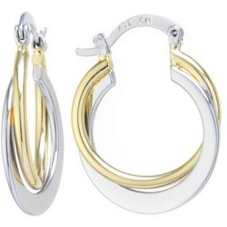 Starfish Boxed Two Tone Small Twist Hoop Earrings
